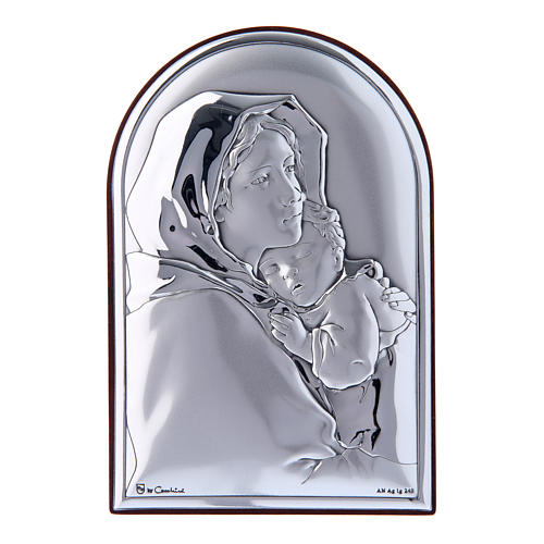 Our Lady and Baby Jesus hug painting in laminboard with refined wooden back 12x8 cm 1