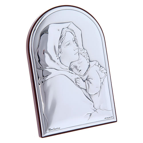 Our Lady and Baby Jesus hug painting in laminboard with refined wooden back 12x8 cm 2