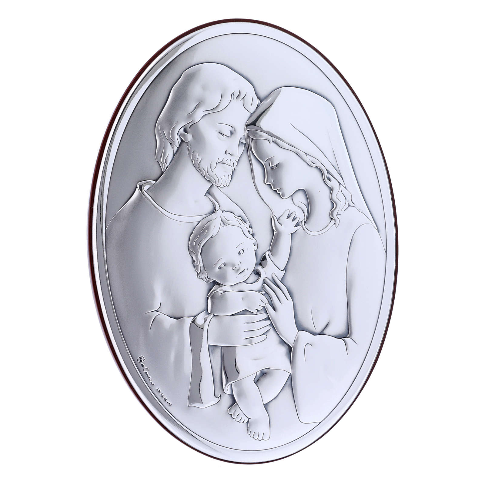 Quadro Sacra Famiglia bilaminato con retro in legno pregiato 18X13 cm 4