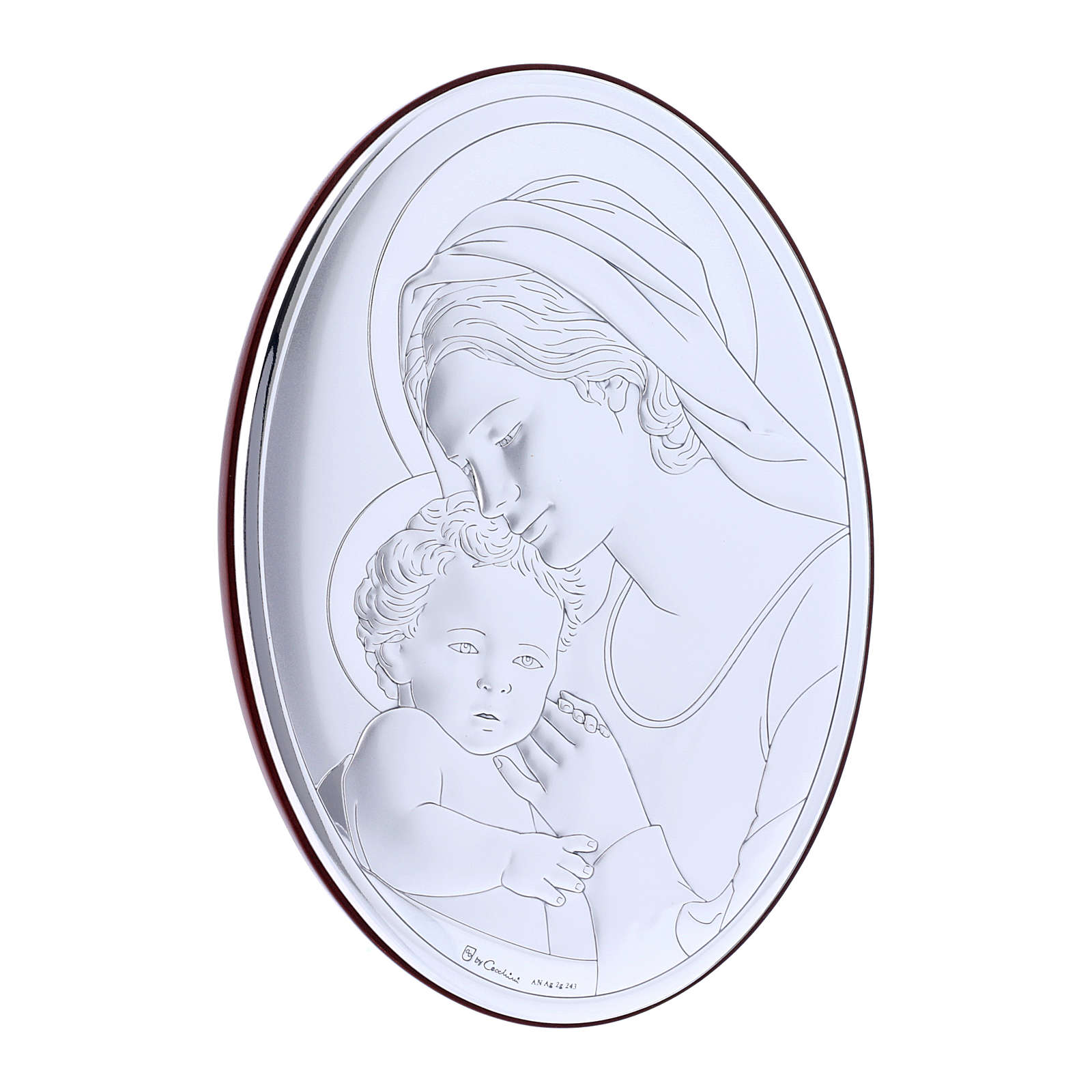 Our Lady with Baby Jesus painting in laminboard with refined wooden back 18X13 cm 4