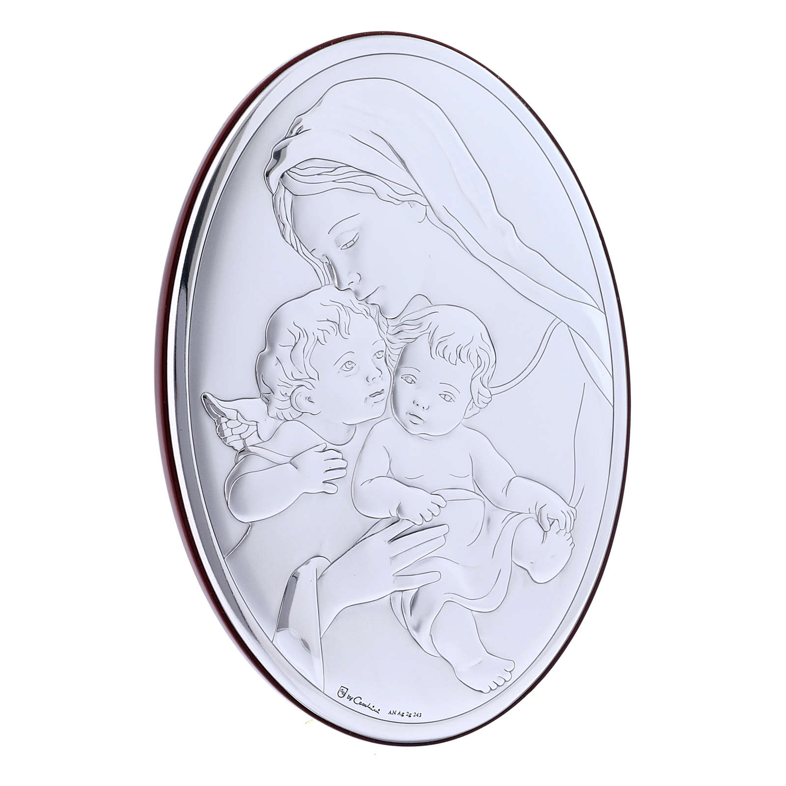 Our Lady with Jesus and Angel in laminboard with refined wooden back 18X13 cm 4