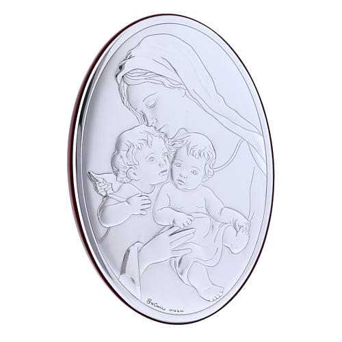 Our Lady with Jesus and Angel in laminboard with refined wooden back 18X13 cm 2