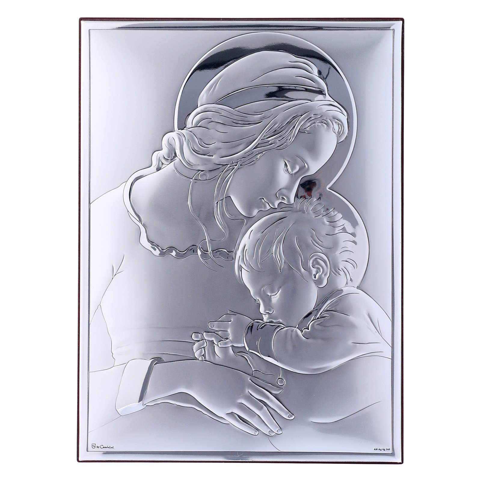 Quadro Maria con Gesù in bilaminato con retro in legno pregiato 19X26 cm 4