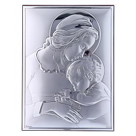 Quadro Maria con Gesù in bilaminato con retro in legno pregiato 19X26 cm s1