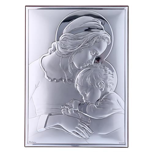 Quadro Maria con Gesù in bilaminato con retro in legno pregiato 19X26 cm 1