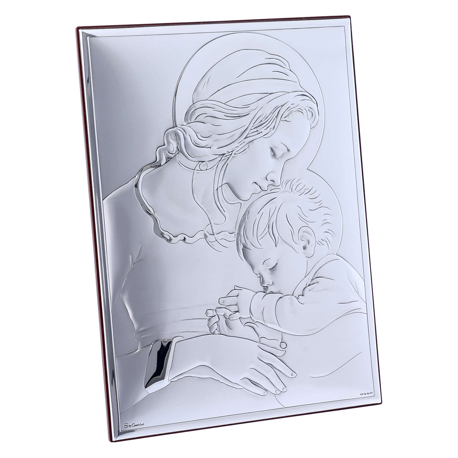 Our Lady with Jesus painting in laminboard with refined wooden back 19X26 cm 4