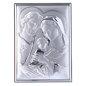 Holy Family painting in laminboard with refined wooden back 18X13 cm s1