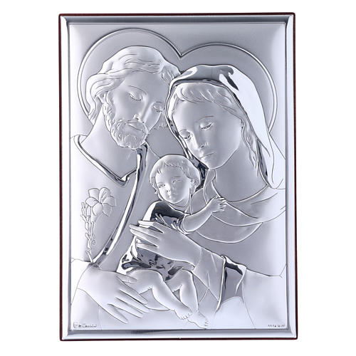 Holy Family painting in laminboard with refined wooden back 18X13 cm 1