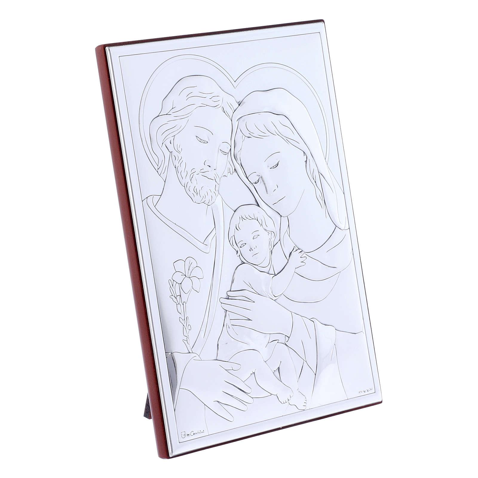 Quadro Sacra Famiglia in bilaminato con retro in legno pregiato 18X13 cm 4