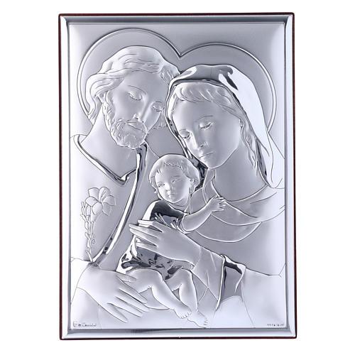 Quadro Sacra Famiglia in bilaminato con retro in legno pregiato 18X13 cm 1