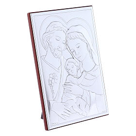 Holy Family painting in laminboard with refined wooden back 18X13 cm s2