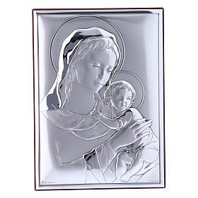 Quadro Madonna bimbo bilaminato con retro in legno pregiato 18X13 cm s1