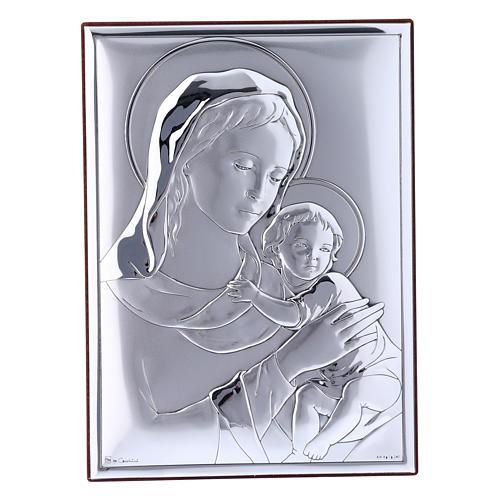 Quadro Madonna bimbo bilaminato con retro in legno pregiato 18X13 cm 1