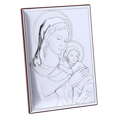 Quadro Madonna bimbo bilaminato con retro in legno pregiato 18X13 cm 2