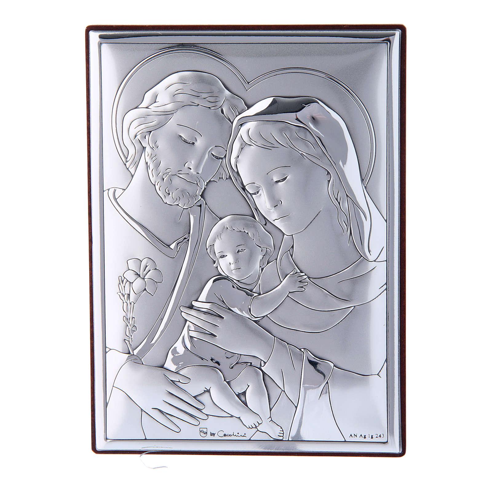 Quadro Sacra Famiglia in bilaminato con retro in legno pregiato12X8 cm 4