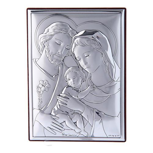 Quadro Sacra Famiglia in bilaminato con retro in legno pregiato12X8 cm 1