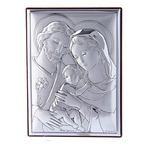 Holy Family painting in laminboard with refined wooden back 12X8 cm 1