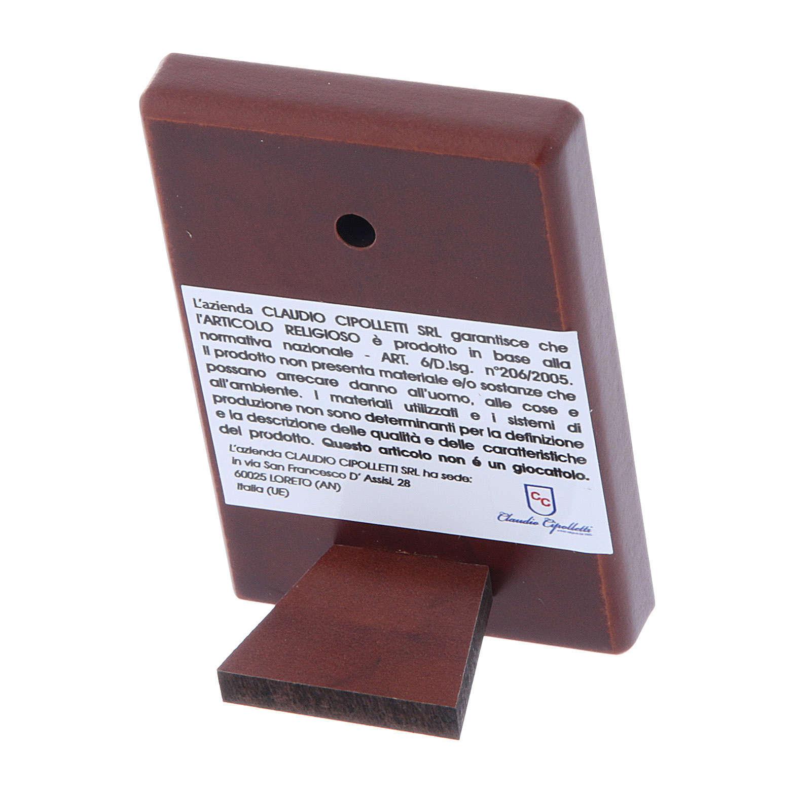 Quadro Sacra Famiglia bilaminato con retro legno pregiato 6X4 cm 4