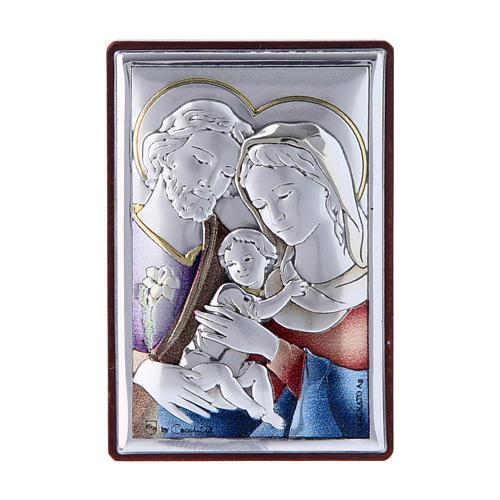 Quadro Sacra Famiglia bilaminato con retro legno pregiato 6X4 cm 1