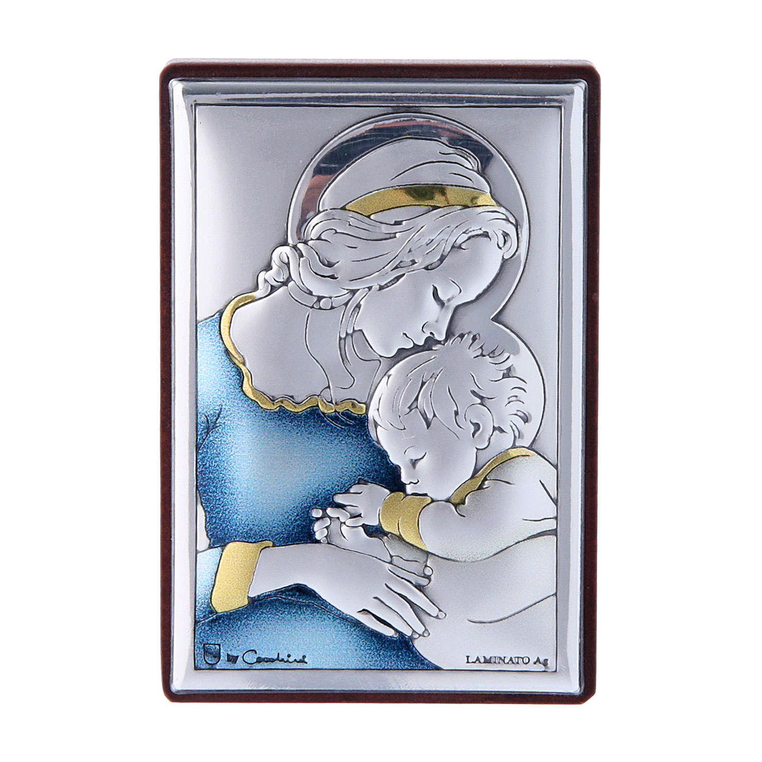 Cadre en bi-laminé avec support en bois massif 6x4 cm Vierge avec Enfant couleurs 4