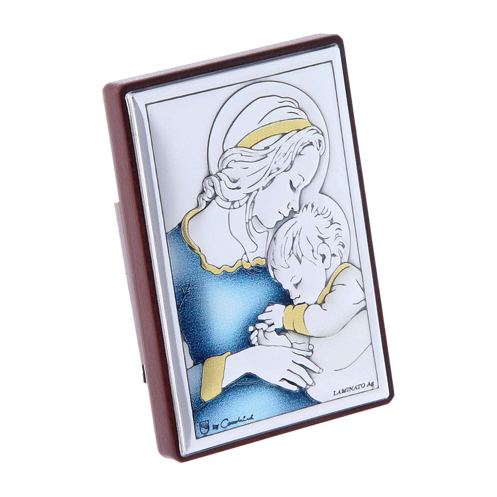Quadro pequeno Virgem e Menino adormecido em bilaminado com reverso em madeira maciça 6x4 cm 4
