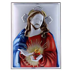 Sacred Heart of Jesus painting in laminboard with refined wooden back 26X19 cm s1