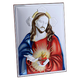 Sacred Heart of Jesus painting in laminboard with refined wooden back 26X19 cm s2