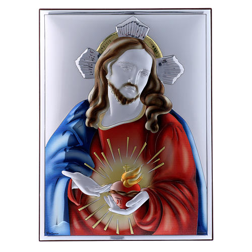 Sacred Heart of Jesus painting in laminboard with refined wooden back 26X19 cm 1