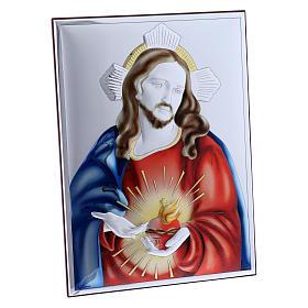 Cadre Sacré Coeur de Jésus en bi-laminé avec arrière en bois massif 26x19 cm s2