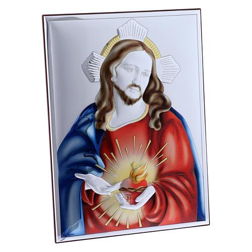 Cadre Sacré Coeur de Jésus en bi-laminé avec arrière en bois massif 26x19 cm 2