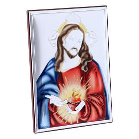 Quadro in bilaminato con retro in legno pregiato Sacro cuore di Gesù 18X13 cm s2