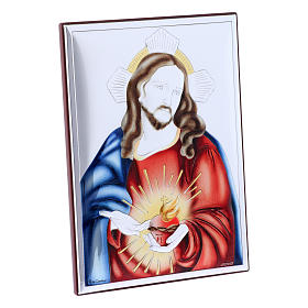 Sacred Heart of Jesus painting in laminboard with refined wooden back 18X13 cm s2