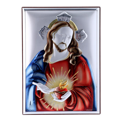 Sacred Heart of Jesus painting in laminboard with refined wooden back 18X13 cm 1