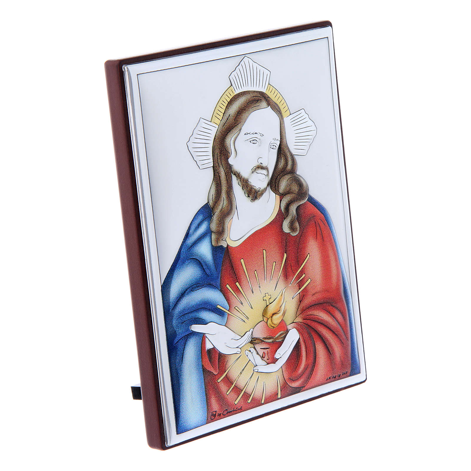 Sacred Heart of Jesus painting in laminboard with refined wooden back 11X8 cm 4