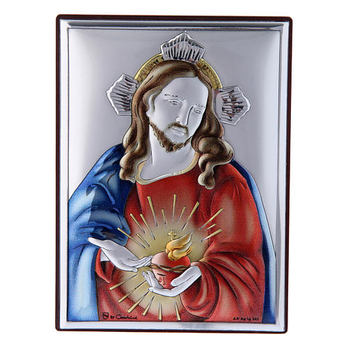 Sacred Heart of Jesus painting in laminboard with refined wooden back 11X8 cm 1