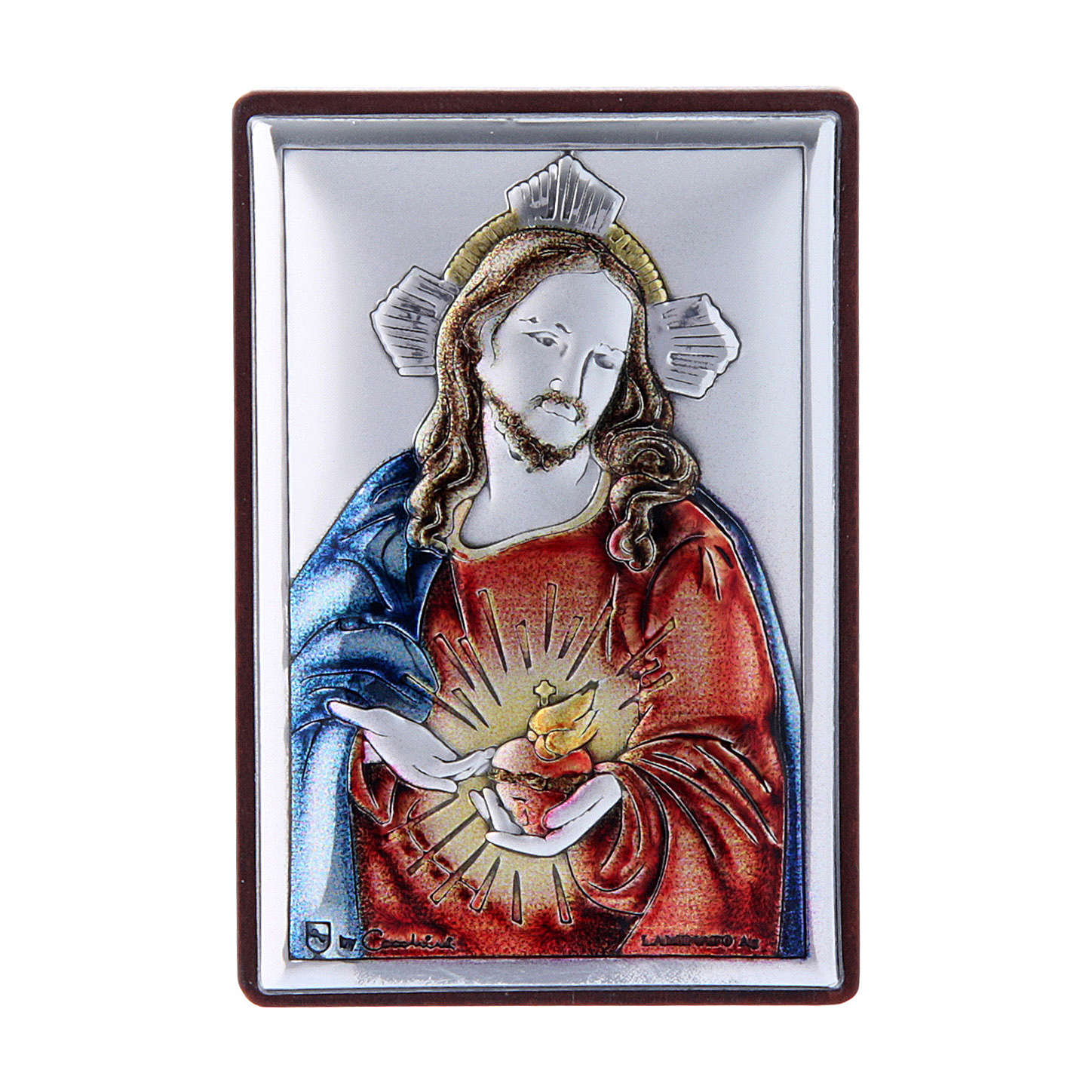 Sacred Heart of Jesus painting in laminboard with refined wooden back 6X4 cm 4