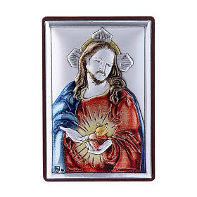 Sacred Heart of Jesus painting in laminboard with refined wooden back 6X4 cm s1