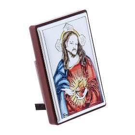 Sacred Heart of Jesus painting in laminboard with refined wooden back 6X4 cm s2