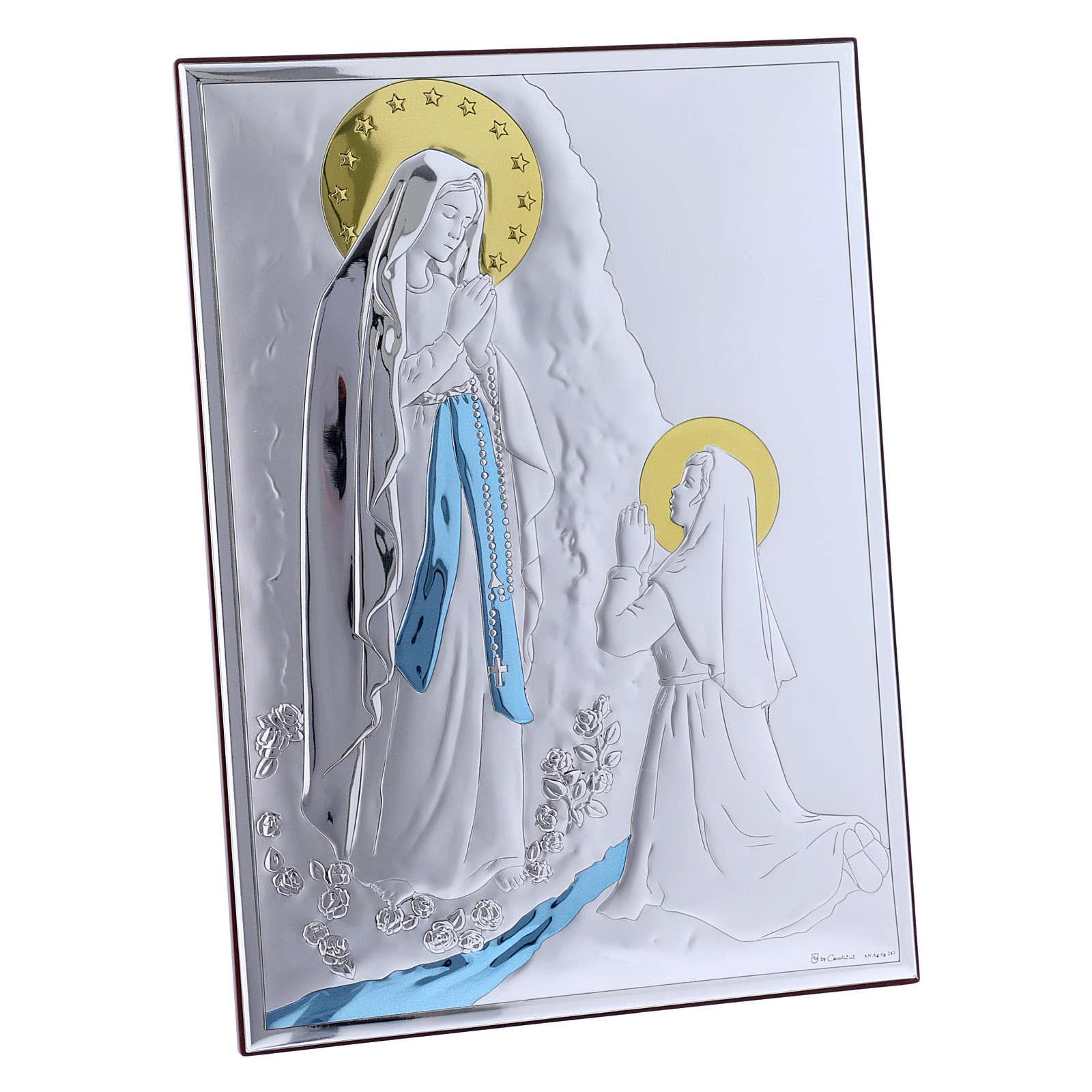 Quadro in bilaminato con retro in legno pregiato Madonna di Lourdes 26X19 cm 4