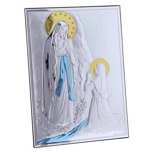Quadro in bilaminato con retro in legno pregiato Madonna di Lourdes 26X19 cm 2