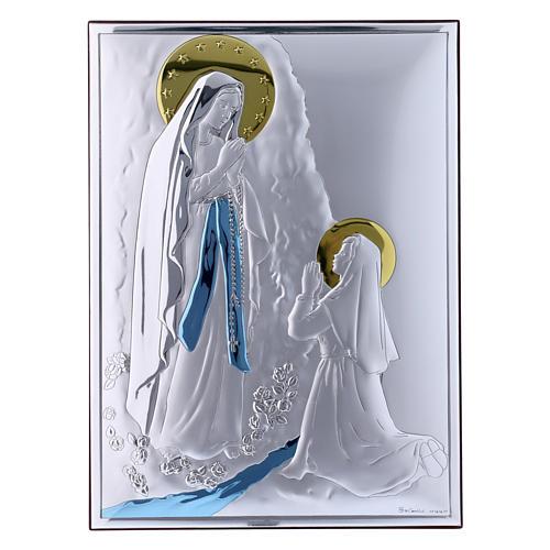 Obraz Madonna z Lourdes bilaminat kolorowy tył z prestiżowego drewna 26x19 cm 1