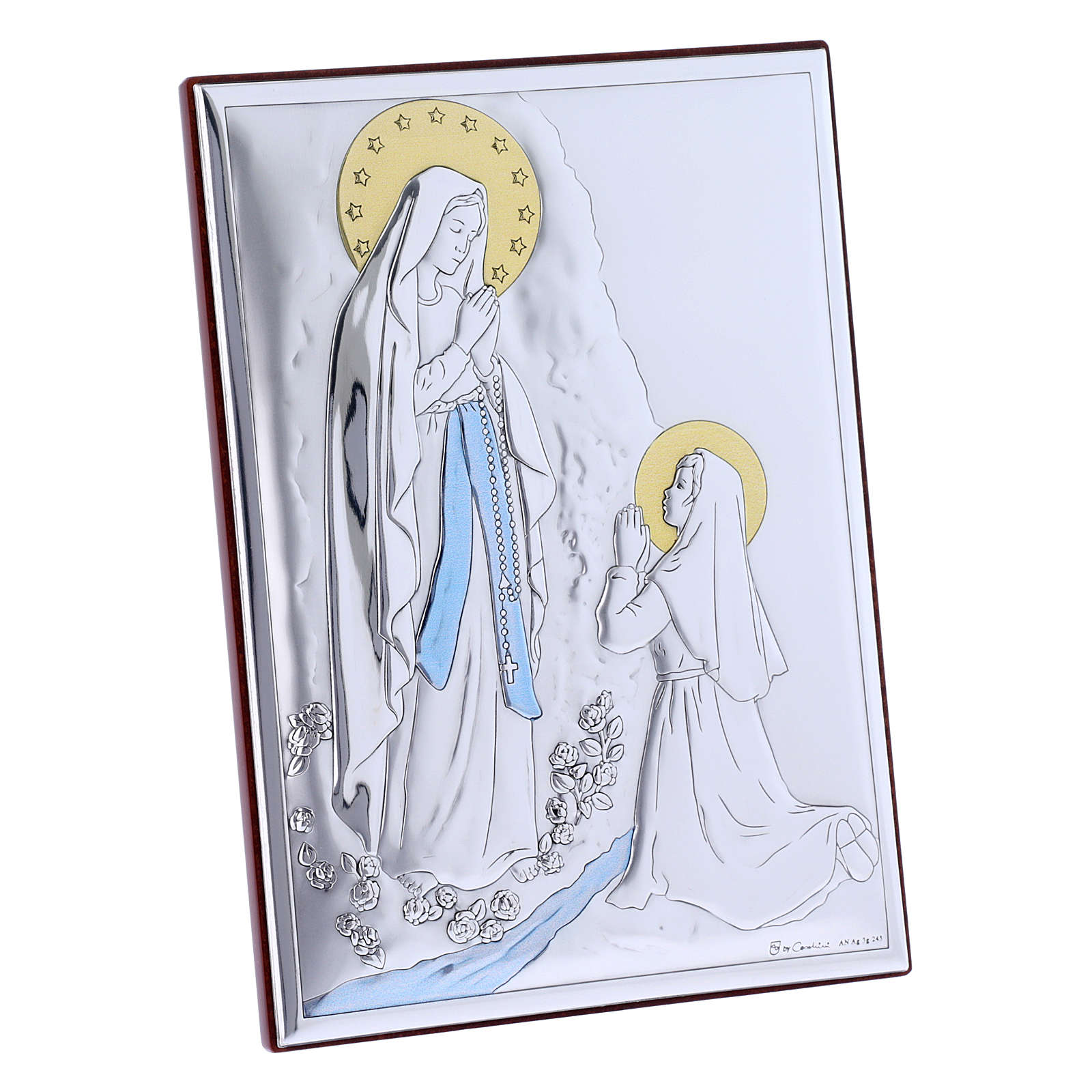 Our Lady of Lourdes painting in laminboard with refined wooden back 18X13 cm 4