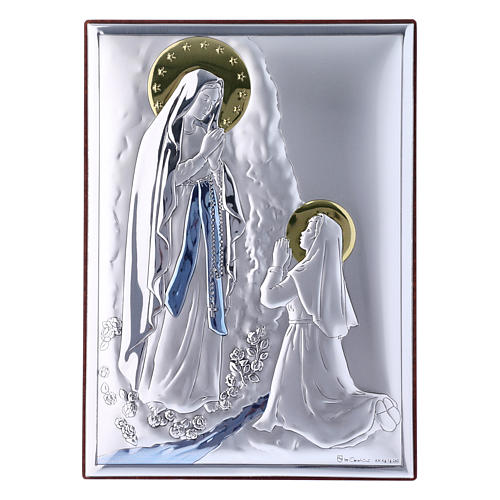 Our Lady of Lourdes painting in laminboard with refined wooden back 18X13 cm 1