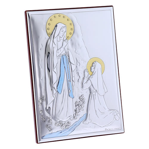 Our Lady of Lourdes painting in laminboard with refined wooden back 18X13 cm 2