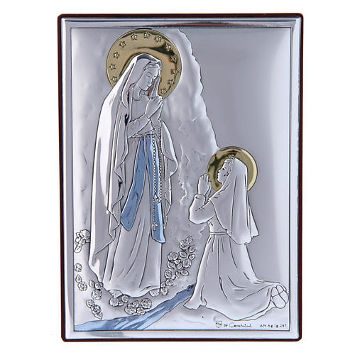 Our Lady of Lourdes painting in laminboard with refined wooden back 11X8 cm 1