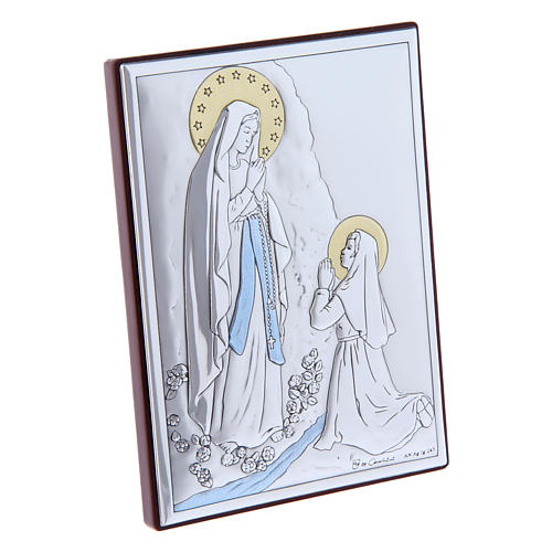 Our Lady of Lourdes painting in laminboard with refined wooden back 11X8 cm 2