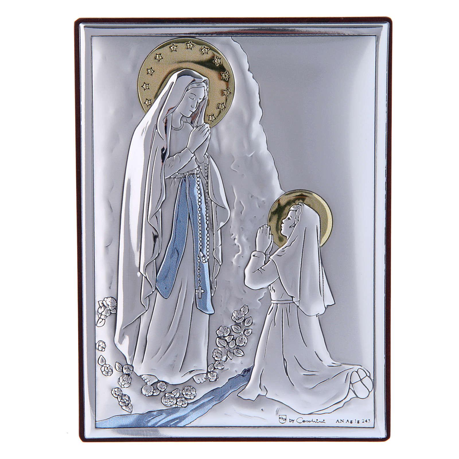Cuadro de bilaminado con parte posterior de madera preciosa Virgen de Lourdes 11x8 cm 4