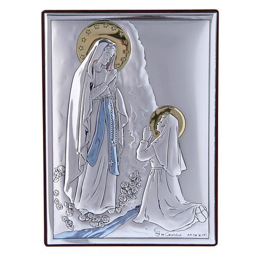 Cadre en bi-laminé avec support en bois massif Notre-Dame de Lourdes 11x8 cm 1