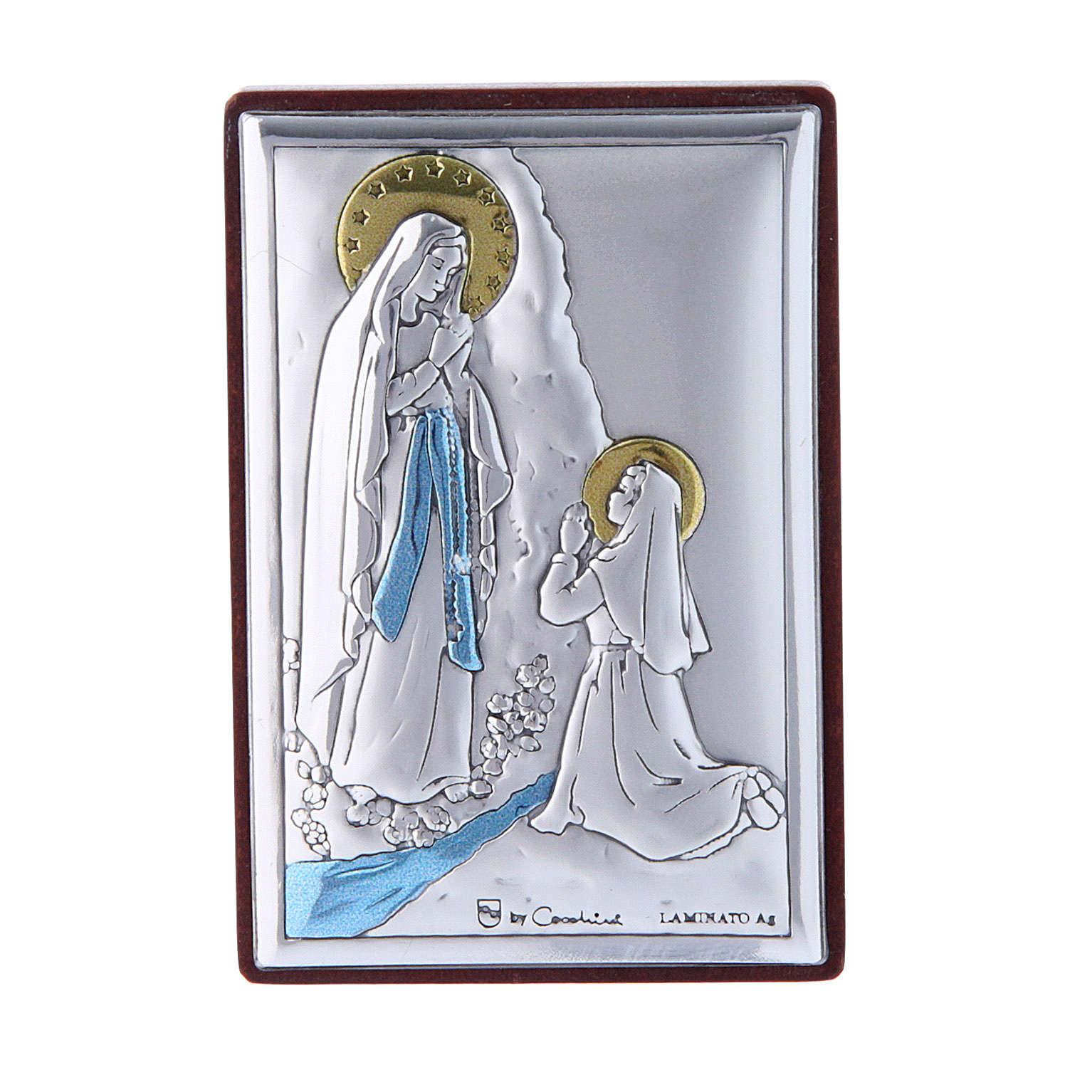 Quadro in bilaminato con retro in legno pregiato Madonna di Lourdes 6X4 cm 4