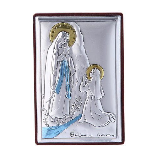 Our Lady of Lourdes painting in laminboard with refined wooden back 6X4 cm 1